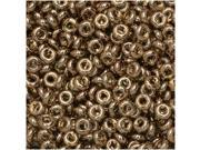 Toho Demi Round Seed Beads, Thin 8/0 (3mm) Size, 7.4 Grams, #204 Gold Lustered Montana Blue
