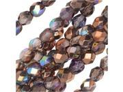 Czech Fire Polished Glass, Faceted Round Beads 4mm, 40 Pieces, Light Amethyst Copper Rainbow 9SIA1B65YS0773