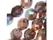 Czech Fire Polished Glass, Faceted Round Beads 8mm, 20 Pieces, Light Amethyst Copper Rainbow 9SIA1B65YS0721
