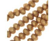 Czech Fire Polished Glass, Donut Rondelle Beads 5x3.5mm, 50 Pieces, Bronze Pale Gold 9SIA1B663S5303