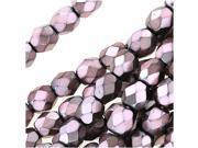 Czech Fire Polished Glass Beads 4mm Round Full PearlizedDusty Rose On Jet (50)