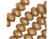 Czech Fire Polished Glass, Donut Rondelle Beads 7x4mm, 40 Pieces, Bronze Pale Gold 9SIA1B663S5333