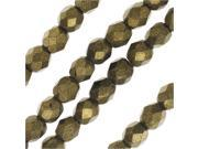 Czech Fire Polished Glass, 4mm Faceted Round Beads, 50 Pcs, Metallic Gold Suede 9SIA1B63FR3856