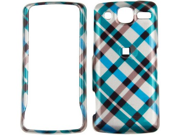 Snap On Plastic Phone Design Case Cover Blue Plaid For LG eXpo GW820