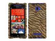 Hard Plastic Diamante Tiger Skin Phone Protector for HTC Windows Phone 8X 6990LVW