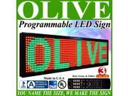 "Olive LED Signs 3 Color p30, 22"" x 136"" (RGY) programmable Scrolling Message board - Industrial Grade Business Tools"