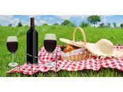 Basily Wine Stake Set - holds your wine and glasses in the ground, prevents from spilling and breaking, Stainless Steel
