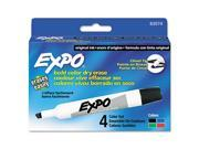 Sanford Expo Dry Erase Whiteboard Markerss, Chisel Tip, Assorted, 4/Set, ST - SAN83074