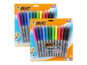 BIC Mark-It Color Collection Permanent Markers, Fine Point, Assorted, 12 Markers, Pack of 2