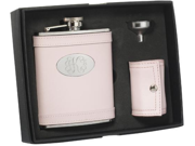 Pink Leather 6oz Flask, 4 shot cups w/ Leather Pouch and Funnel Gift Set