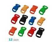 (12 Pack) Paracord Bracelet Buckle Set Assorted Colors 15mm .5 Inch