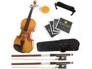 Mendini 4/4 MV400 Ebony Fitted Solid Wood Violin with Hard Case, Shoulder Rest, Bow, Rosin, Extra Bridge and Strings