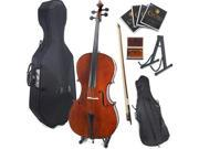Cecilio 4/4 CCO-200 Handmade Solid Wood Student Cello with Hard and Soft Case, Bow, Rosin, Bridge, and Strings (Full Size)