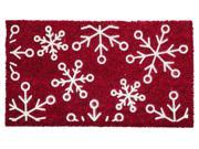 Evergreen Snowflake FlockedCoir Mat, 28 x 16 inches