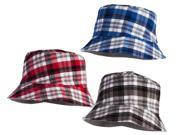 Classic Plaid Red Grey and Blue Sun Hats - Set of 3
