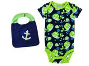 Whale and Anchors Onesie With Matching Bib Set Of 2 Size 0-6 Months