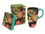 Brown and Blue Floral Ceramic Travel Coffee Mug with Matching Gift Box 9SIA1DZ3NW0581
