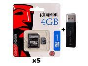 5 PACK - Lot of 5 Kingston 4GB MicroSD HC Memory Card SDC4/4GB with SD Adapter and Dual Slot Memory Card Reader