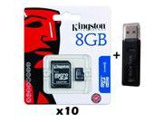 10 PACK - Lot of 10 Kingston 8GB MicroSD HC Memory Card SDC4/8GB with SD Adapter and Dual Slot Memory Card Reader