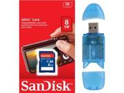 SanDisk 8GB Class 4 SD SDHC Flash Memory Card 8G SDSDB-008G 8 GB GIG with Memory Card Reader FOR Digital Camera GPS Tablet