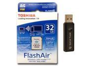 Toshiba FlashAir 32GB SD HC Wireless LAN Wi-Fi Camera Memory Card SD-R032GR7AL03A with Dual Slot Memory Card Reader