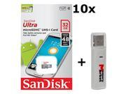 10 PACK - SanDisk Ultra 32GB UHS-I Class 10 MicroSDHC Memory Card Up to 48mb/s SDSQUNB-032G LOT OF 10 with USB 2.0 MemoryMarket dual slot MicroSD & SD Memory Card Reader