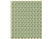 George Washington Full Sheet of 100 X 1 Cent Us Postage Stamps Scot #1031