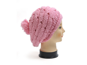 New Women's Pink Oversized Beret-Style Knit Acrylic Cap LH1007