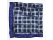 Printed Silk Hanky navy Light  blue PSH43