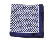 Printed Silk Hanky silver Royale blue navy PSH24
