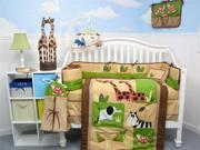SoHo Safari Jungle Animals Baby Crib Nursery Bedding Set 14 pcs included Diaper Bag with Changing Pad, Accessory Case & Bottle Case
