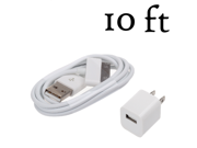 10FT 30 pin Data SYNC Cable + USB Wall Plug Adapter AC Wall Charger for iPod iPhone 4 4S
