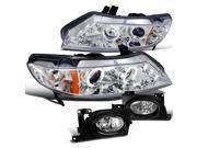 Civic 4Dr Chrome Led Halo Projector Head Lights, Fog Lamp Clear
