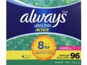 Always Ultra Thin Active Pads Regular With Flexi Wings Clean Scent 96 Count