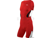 TYR Men's Carbon Zipper Back Shortjohn Tri Suit with Pad: Red~ XL