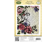 "JustRite Stampers Cling Background Stamp 4-1/2""X5-3/4""-French Rose"