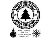 "Technique Tuesday Clear Stamps 2""X2.5""-Merry Christmas Tree Seal"