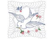 "Stamped Quilt Blocks 18""X18"" 6/Pkg-Wedding Dove With Quilting Marks"