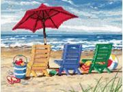 "Beach Chair Trio Needlepoint Kit-16""""X12"""" Stitched In Wool & Thread"" 9SIA14P0BG9624"
