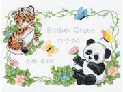 "Baby Hugs Baby Animals Birth Record Stamped Cross Stitch Kit-12""X9"""