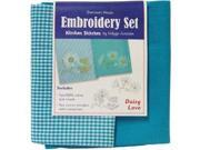 Image of Daisy Love Kitchen Stitches Embroidery Set-Solid Turquoise & Turquoise/White Check