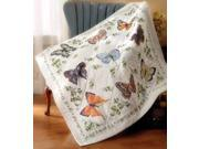 """Stamped Cross Stitch Lap Quilt 45""""X45""""-Butterfly Collection"""