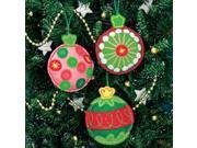 "Simple Cheer Ornaments Felt Applique Kit-4""X4-1/2"" Set Of 3"