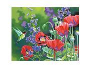 """Paint By Number Kit 11""""X14""""-Hummingbird And Poppies"""