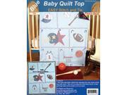 """Stamped Baby Quilt Top 36""""X42""""-Sports -Blue Fabric"""