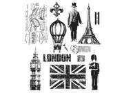 Tim Holtz Large Cling Rubber Stamp Set-Paris To London