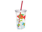 Tropical Go Fish Insulated Tumbler with Lid and Straw