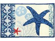Nautical Italian Tile With Starfish Sand Dollar 22 X 34 Inch Floor Mat Area Rug