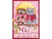 Owl Love You to the Moon and Back Cute Couple Valentine 12 X 18 Garden Flag