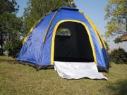 Hexagonal Camping Tent for 3 4 Persons UV resistant Outdoor Travel Portable Blue